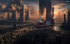 Futuristic city panaroma by jasonkyo
