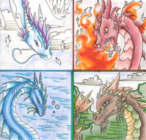 Elemental Dragons -colored- by xReperio