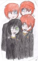 Harry Ron Fred and George by sonicfreak99