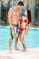 Kevin and Lauren at the pool by goodeggproductions