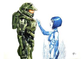 John and Cortana by ReneFelem