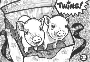 Inktober day 22: Twin piglets :-) by dreamsaddict