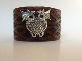Tooled leather Double Dragon celtic cuff by lbaker22