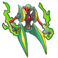 Deoxys's Rayquaza form fanart by El-Dark-Core
