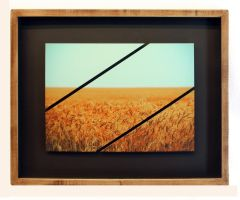 Pure Gold 3 Diagonal Panel Framed Print by Joe-Lynn-Design