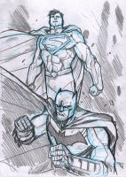 Superman and Batman sketch by DenisM79