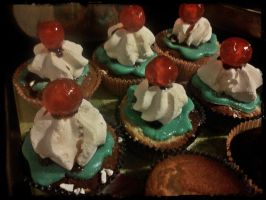 Chocolate Cherry Cupcakes by VanillaVictoria