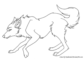 Free-use Wolf Line-art by Kadarami
