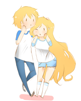 Fionna and Finn by SplicedLamia