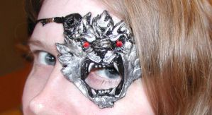 One Eyed Silver Wolf Mask by Namingway