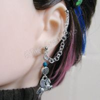 Silver and Blue Pegasus Chain Earring by merigreenleaf