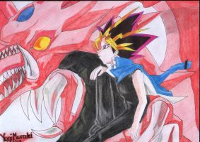 Yami Yugi and Slifer by Yugi-Muraki
