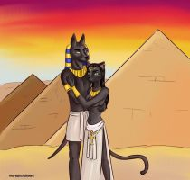 Anubis and Bast by WillaWanda