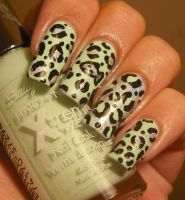 Mint and Silver Leopard Print Nails by aleidapinon
