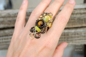 Fall wire wrapped ring with tiger eye by IanirasArtifacts