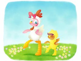 Chicken and chick by doqwor
