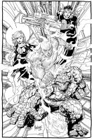 Fantastic Four lineart by gammaknight
