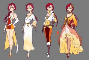 Phoena Alternate Outfits by rika-dono