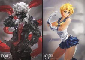 Tokyo Ghoul and Sailormoon by CGlas