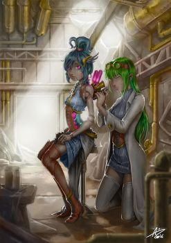 Commission: Alpha and Rynn Steampunk by aiyeahhs