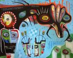 Outsider Art Painting: Outsider Art: Contraption by bugatha1