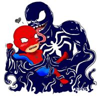 Venom and Spider-Man chibi by PsihoSkulptor