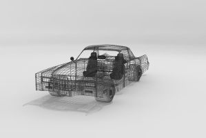 Retro Cadillac Wireframe by Xpunk75