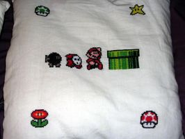 Mario Cross-stitched Pillows 2 by ChiJadey