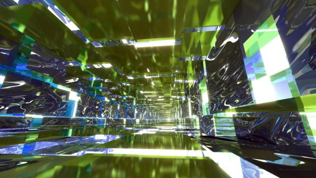 Lime Green and Blue Mirrored Tunnel by Dr-Pen