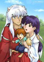 Inuyasha, Kagome and Shippou by SchneeAmsel
