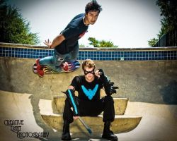 Nightwing and the Skater by swampfoxinsc