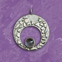 Moon Eye sterling silver pendant with tanzanite by YANKA-arts-n-crafts