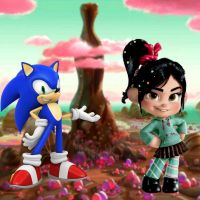 Sonic and Vanellope at Diet Cola Mountain by GregoryFields