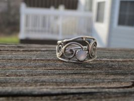 Fine silver adjustable filigree ring with M.O.P. by whippetgirl