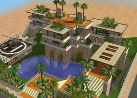 Sims 2 Hillside Tropical Mansion by RamboRocky