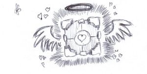 Companion Cube Sketch by ArkhamsNightmare