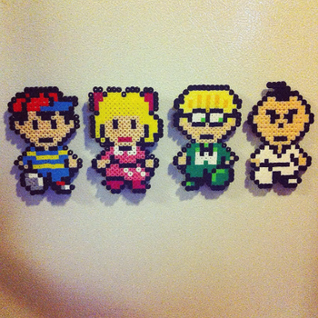 Earthbound: Ness, Paula, Jeff, and Poo Magnets by DreamingPainter
