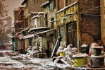 Snowy Street in the Night by TanBekdemir