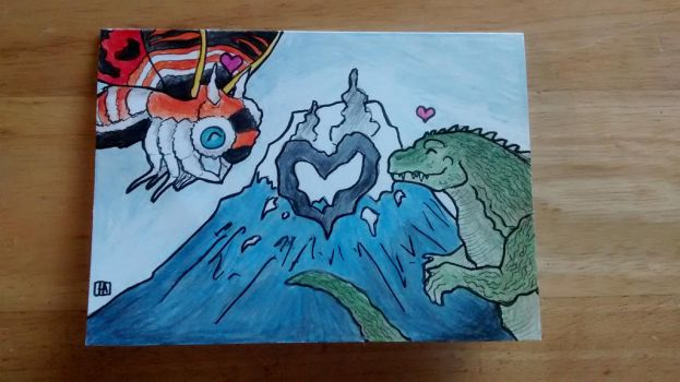 Mothra and Godzilla Valentine's Day Card by EmuRider96