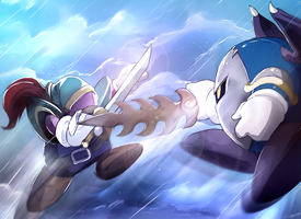 Meta Knight VS Blade Knight by PinkPuffKirby