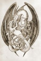 Celtic Knot: Mother Dragon and Children by RebekahByland