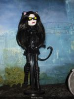monster high custom repaint daughter of catwoman by Rach-Hells-Dollhaus
