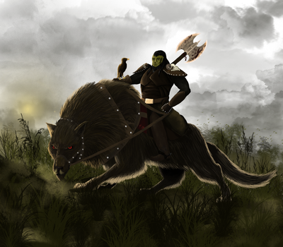 Orc on his riding wolf by findkeinennamen