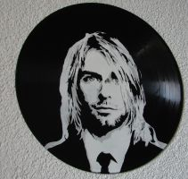 Kurt Cobain on vinyl record by vantidus