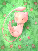Mew in flowers and stuff by Ful-Fisk