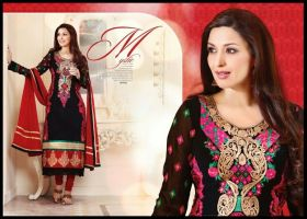Afreen vol6 : Sonali Bendre Red And Black Anarkali by clickingo