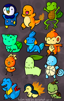 Chibi starter Pokemon by Helen-likes-pie