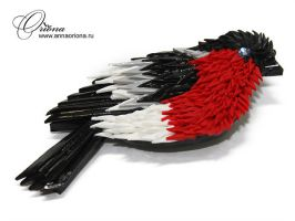 "Brooch ""Bullfinch"" by OrionaJewelry"