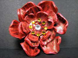 Leather flower red pin by maskedzone