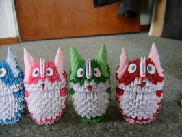 3d origami cats again by juls2